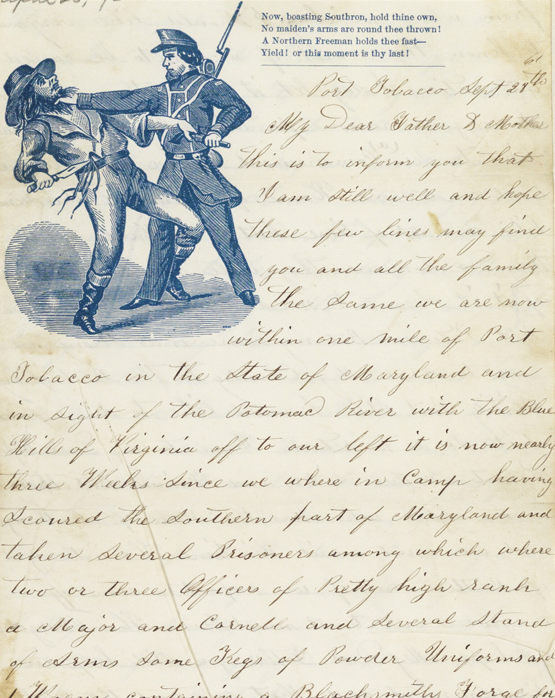 1861 letter from soldier edwin birley to his parents