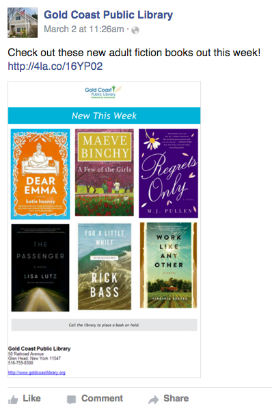 Flyer of new books posted to Gold Coast Public Library