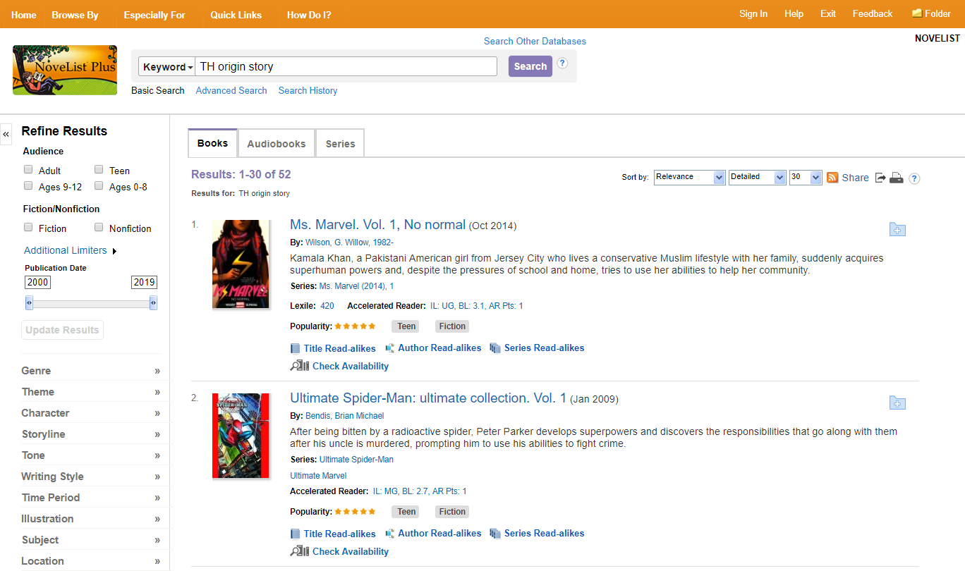 Example of searching for the theme origin story in NoveList