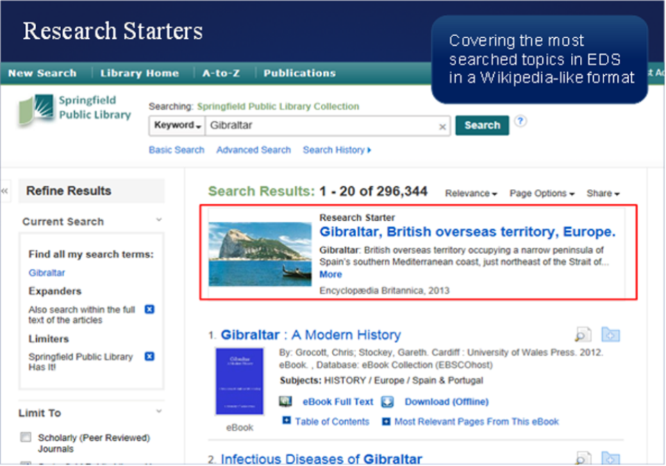 Research Starters   Content   EBSCO Discovery Service