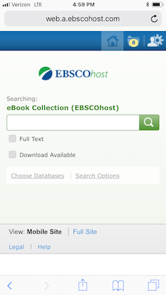 EBSCO eBooks Interface