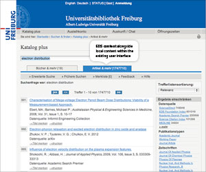 Examples of EDS API on Customer Platforms<br> Universitatsbibliothek Freiburg