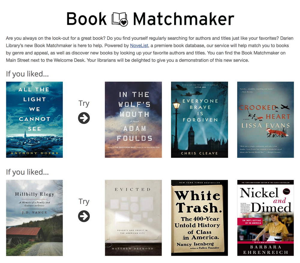 Book matchmaker page