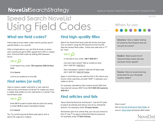 Speed Search NoveList Using Field Codes search strategy