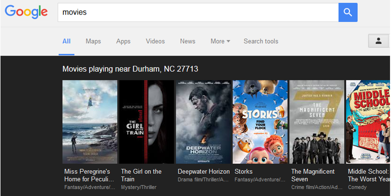 Movie search in Google