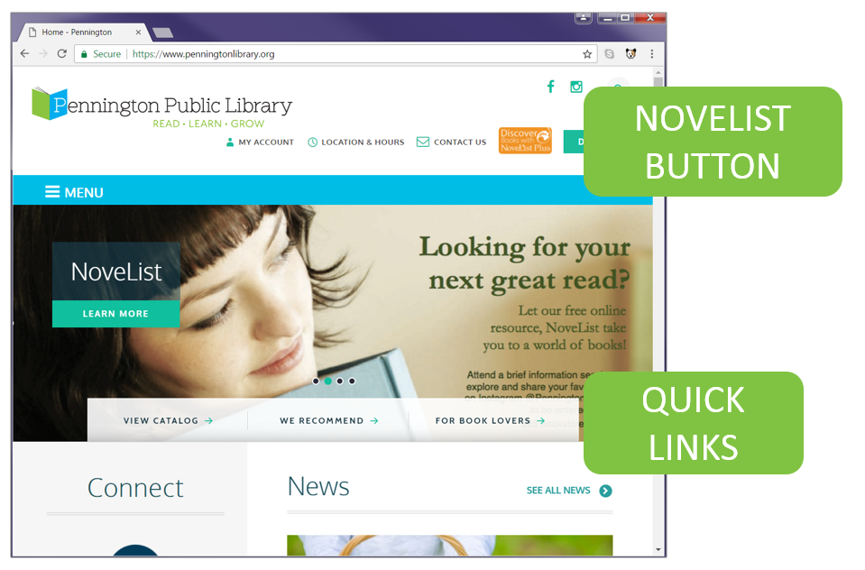 Pennington Public Library homepage with NoveList button