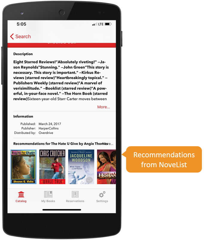 Screenshot of NoveList recommendations in the SimplyE app