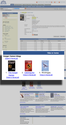 Series titles shown in library catalog