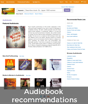 Audiobooks page in NoveList Plus